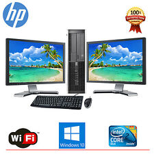 "HP Desktop PC Computer Core 2 Duo 4GB RAM DUAL 19"" LCD Monitor WIFI Windows 10"