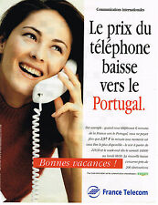 PUBLICITE ADVERTISING 104  1996  FRANCE TELECOM baisse vers le PORTUGAL