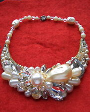 VINTAGE WENDY GELL CRYSTAL AND FAUX PEARL CHOKER NECKLACE 1987