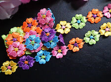 Floral Lace trim embroidery 1 inch wide multicolor selling by the yard