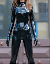 100%Latex Rubber Unique Black Full-body Catsuit Zipper Suit Size XS-XXL