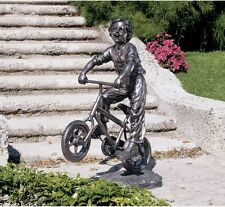 """Young Child Riding Bicycle Joy of Childhood Garden Grande Sculpture 45.5"""""""