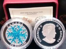 Snowflake Dendrite Ice Crystal 2017 1OZ $20 Pure Silver Proof Canada Coin.