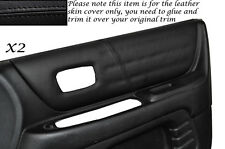 BLACK LEATHER 2X FRONT DOOR CARD TRIM SKIN COVERS FITS LEXUS IS200 98-05
