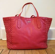 Cole Haan Victoria Red Woven Leather Large Tote Shoulder Bag
