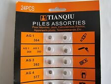 240 Batteries/LOT: AG1/364,AG3,AG4,AG5, AG10/389,AG12/386,AG13/357,CR2016,CR2032