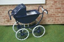 Dolls House 12th scale Navy And Cream Pram pushchair buggy