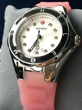 MICHELE Tahitian Jelly Bean Topaz Crystals Pink & Silver 35mm Watch MWW12P000008