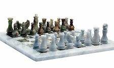 Handmade White and Green Onyx Marble Two Players Full Chess Game Marble Set !!