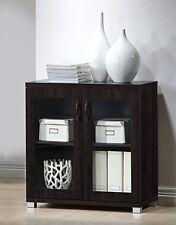 Wholesale Interiors Zentra Sideboard Storage Cabinet with Glass Doors, Dark Brow