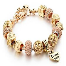 Crystal Charm Bracelet with AAA Zircon Crystals & Murano Glass Beads (Gold Tone)