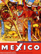 Mexico Natives Village Mexican Spanish Vintage Travel Advertisement Art Poster