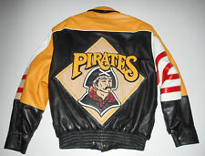 PITTSBURGH PIRATES Reversible LEATHER BOMBER Jacket JEFF HAMILTON JH Coat Men LG
