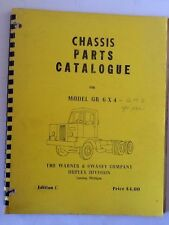 WARNER AND SWASEY CO DUPLEX DIVISION  CHASSIS PARTS CATALOGUE FOR MODEL GR 6 X 4