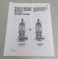MYERS GRINDER PUMP WG30 WG30H WG50 WG50H + INSTALLATION & SERVICING INSTRUCTIONS