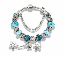 Beautiful Antique Silver Plated European Style Daisy Glass Bead Bracelet