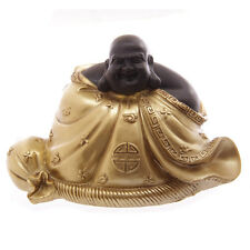 Gold & Brown Fat Chinese Buddha with Robe 10cm Statue Ornament NEW