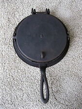 Antique Waffle Maker Primitive Cast Iron #8, Heart Squares & Diamonds Design