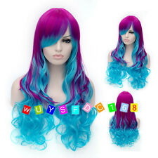 NEW Fashion Long Multi Colour Curly Cosplay party Wig / Free wig cap