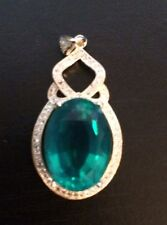 Gorgeous Top AAA yellow gold over Silver pendant, with large lab created Emerald