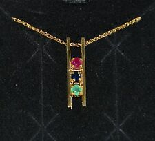 "Genuine EMERALD SAPPHIRE & RUBY GEMSTONE BAR PENDANT & 18"" Necklace 14K Ylw Gold"