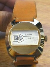 Lucerne Vintage Digital Men's Swiss Jump Hour Wrist Watch-W. Germany Strap 1970s