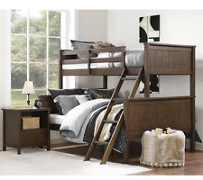 Bunk Beds with Twin Over Full For Kids Children Ladder Wood Guard Rails Brown