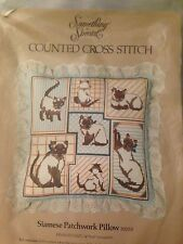 VTG Cat Kitten Siamese Patchwork Pillow Counted Cross Stitch Kit 1982