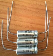 3 PCS 15uF / 100v TE 1408 SPRAGUE ALUMINIUM ELECTROLYTIC CAPACITORS. NOS.