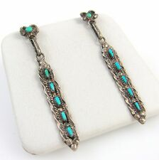 Gorgeous Old Pawn Zuni Sterling Silver Needlepoint Turquoise Earrings  | RS A