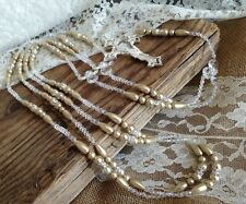 Dark Beige Pearls Crystal Wedding Lasso/ Wedding Laso / Lazo De Boda/silver Tone