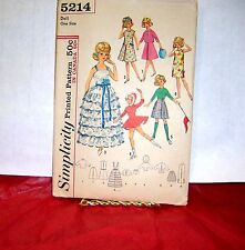 "SIMPLICITY 5214  Doll Clothes for 12"" Tammy & Jan Pattern"