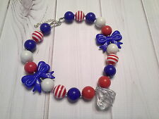 bubblegum chunky bead necklace bow toddler girl 4th of july patriotic US SELLER