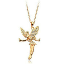 LOVELY 18K ROSE GOLD PLATED & GENUINE CLEAR SWAROVSKI CRYSTAL FAIRY NECKLACE