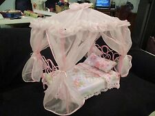 """Pink doll canopy bed fits bitty baby or other 13"""" dolls"""