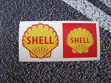 2 X SHELL OIL STICKERS RETRO STYLE 50mm 1955 & 1961  FUEL FERRARI F1 LEMANS