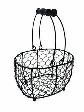 Oval Wire Metal Basket Vintage Black Kitchen Garden Shabby Wedding Decoration