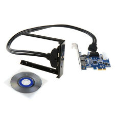 """PCI Express 2 Port USB3.0 PCI-E Card Adapter 3.5"""" Expansion Bay Front Panel FHRG"""