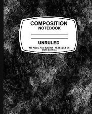 Unruled Composition Notebook : Black Marble, Unruled Composition Notebook, 7....