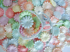 100 DIECUT MULBERRY PAPER FLOWER HEAD COLOR  CARD MAKING CRAFT EMBELLISHMENT NEW