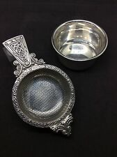 Superb 1977 A E JONES solid Silver Celtic Tea Strainer And Holder Coronation Yea