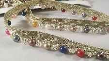 *Beautiful gold woven ribbon with multi coloured pearls 4 crafting designing 1M