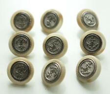 set of 9 cream brown silver tone metal centre anchor buttons unusual design 15mm
