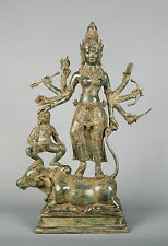 Majestic Antique Style Bronze Durga Statue with Kamadhenu or Nandi - 58cm/23""