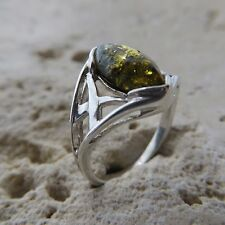 Size 5 3/4, Size L, Size 51, Green, BALTIC AMBER Ring STERLING SILVER #1628