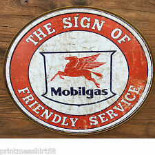 American Mobilgas Mobil Pegasus Garage Vintage Advertising Metal Tin Wall Signs