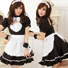 Tame Shy Japanese Maid Costume, French Waitress Outfit Uniform, Waist up to 62cm
