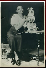 Older Photo - 6 x 9 - Smiling Lady With Dog Sitting on Table-Cloud's Studio
