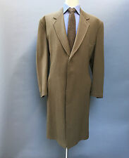 Swaine Adeney Piccadilly London Vintage Men's Tan Brown Long Overcoat SZ 46-48 R