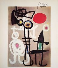 JOAN MIRO HAND SIGNED * PERSONAGE AND BIRD IN FRONT OF THE SUN * PRINT W/ C.O.A.